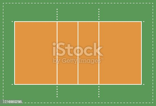 istock Volleyball court or field top view in a flat design. Vector illustration 1216950295