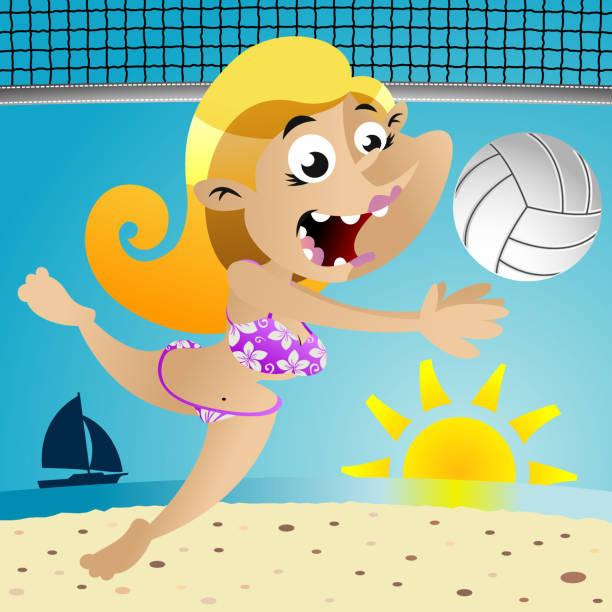 Volleyball Dive vector art illustration