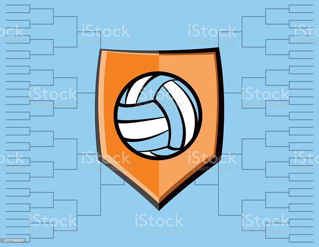 Volleyball Emblem and Tournament Background vector art illustration