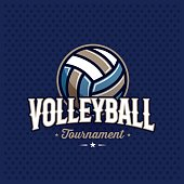 Volleyball emblem blue