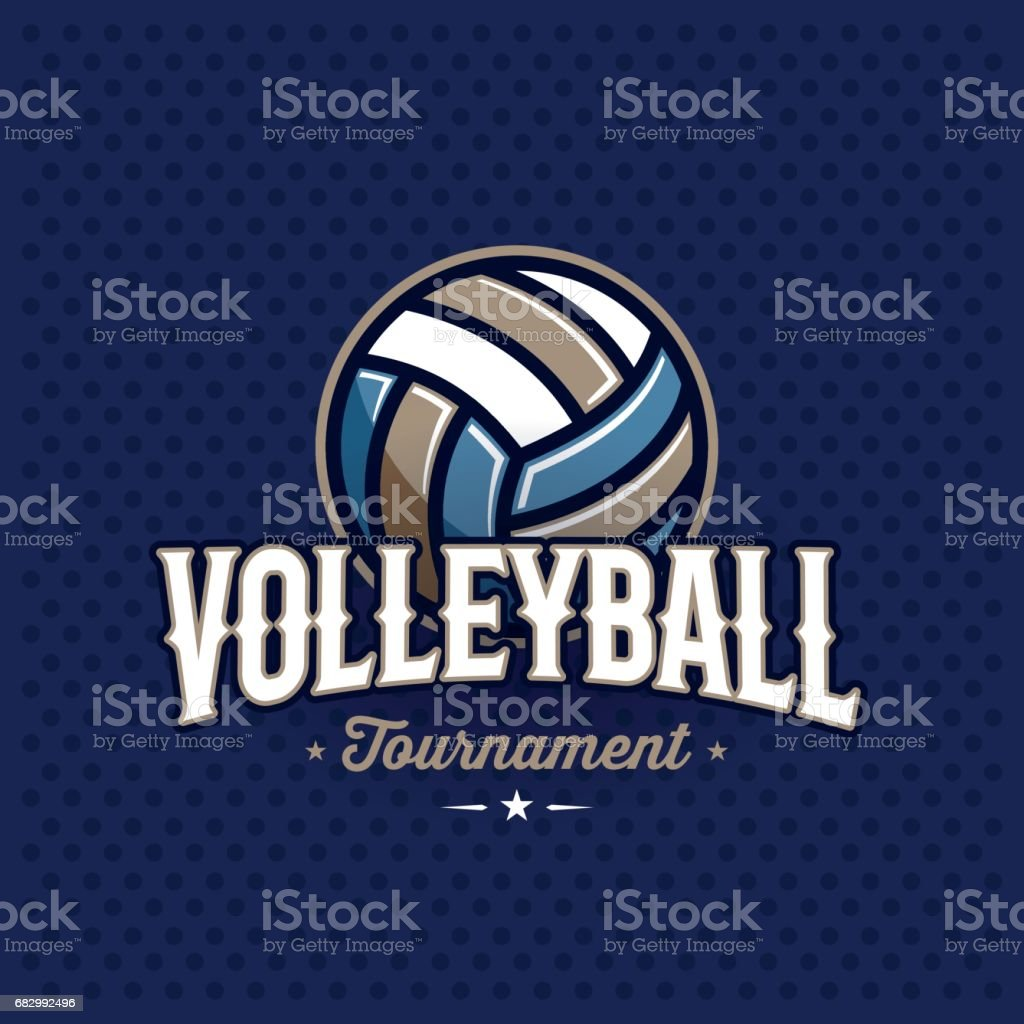 Volleyball emblem blue vector art illustration