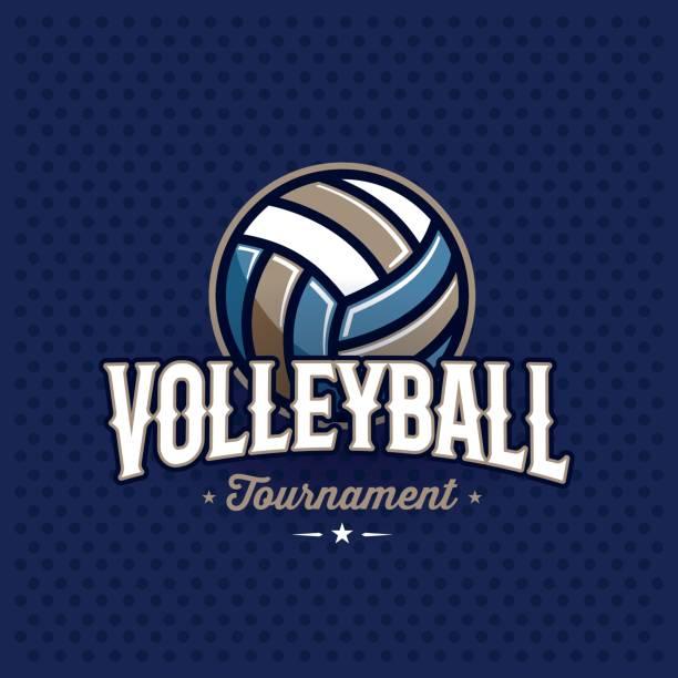 Volleyball emblem blue vector art illustration