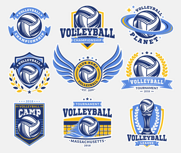 Emblema de voleibol establece colecciones, diseños de plantillas sobre un fondo claro - ilustración de arte vectorial