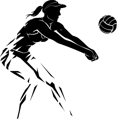 Volleyball Female Player Abstract