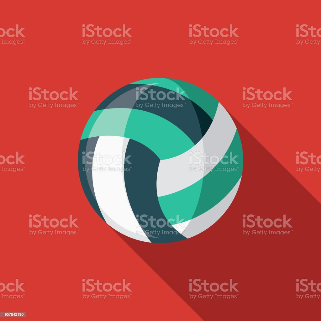 Volleyball Flat Design Sports Icon with Side Shadow vector art illustration