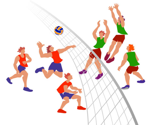 Clip Art: Cartoon School Scene: Sports: Volleyball 01 ... |Volleyball Game Clipart