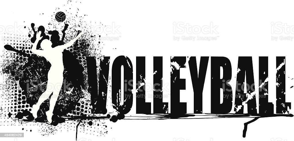 Volleyball Grunge Graphic Background - Girls vector art illustration