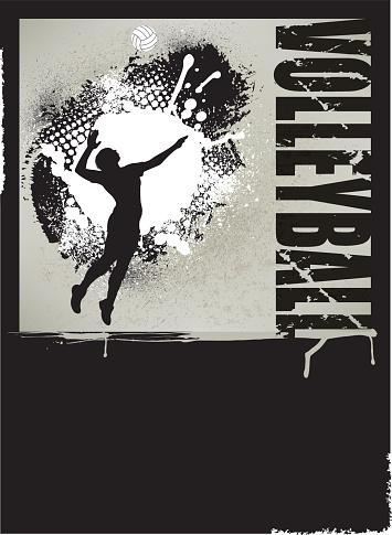 Volleyball Grunge Poster - Girls Background
