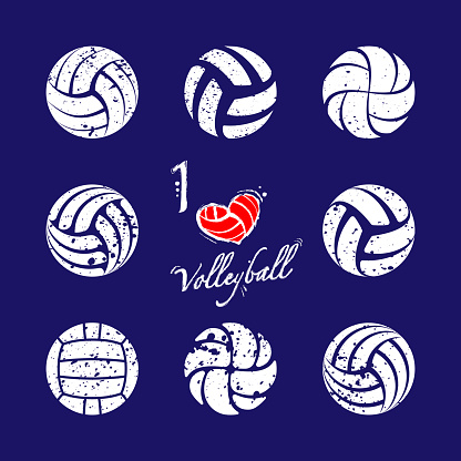 Volleyball grunge silhouettes set