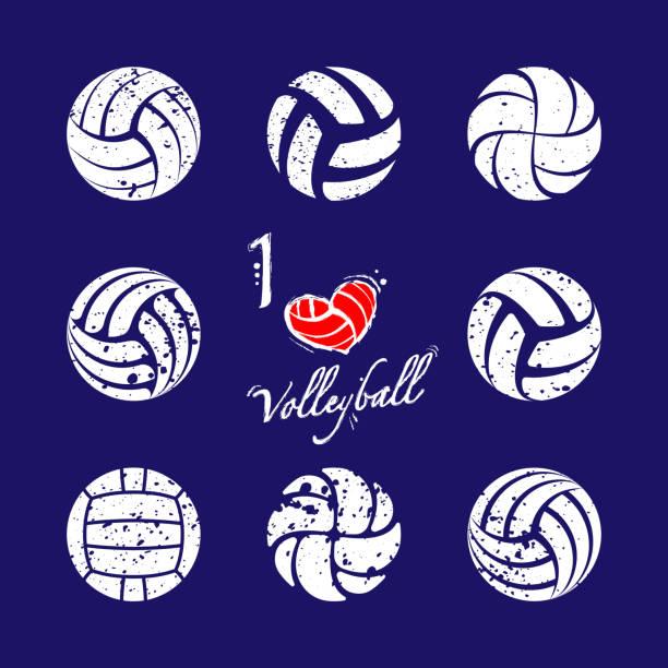 ilustrações, clipart, desenhos animados e ícones de silhuetas do grunge do voleibol ajustadas - voleibol