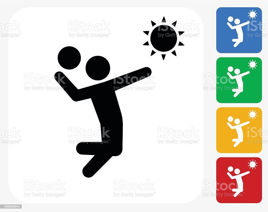 Volleyball Icon Flat Graphic Design vector art illustration