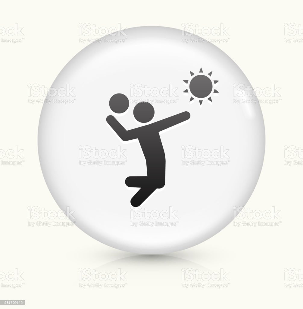 Volleyball icon on white round vector button vector art illustration