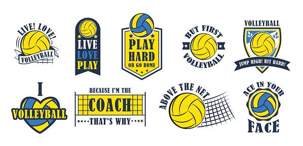 Volleyball icon set, vector illustration