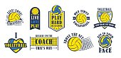 Volleyball icon set, vector illustration
