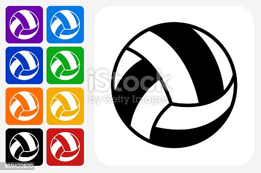 Volleyball Icon Square Button Set. The icon is in black on a white square with rounded corners. The are eight alternative button options on the left in purple, blue, navy, green, orange, yellow, black and red colors. The icon is in white against these vibrant backgrounds. The illustration is flat and will work well both online and in print.