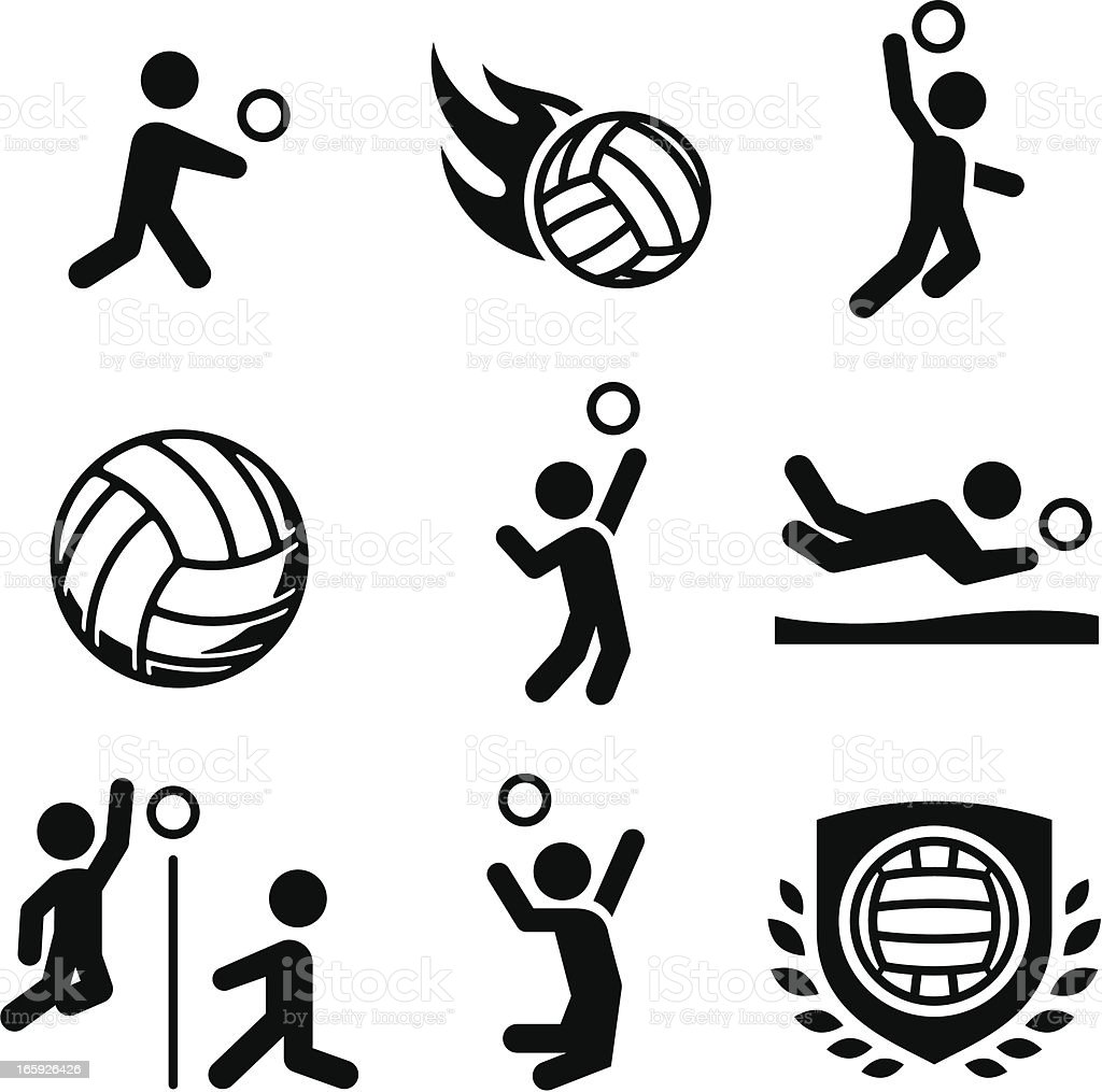 Volleyball-Icons-Schwarz-Serie – Vektorgrafik