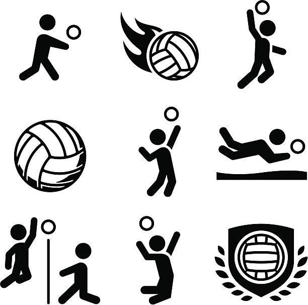 Voleibol iconos de la serie Black - ilustración de arte vectorial