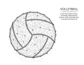 Volleyball low poly design, Sport game abstract graphics, ball wireframe vector illustration made from points and lines on a white background