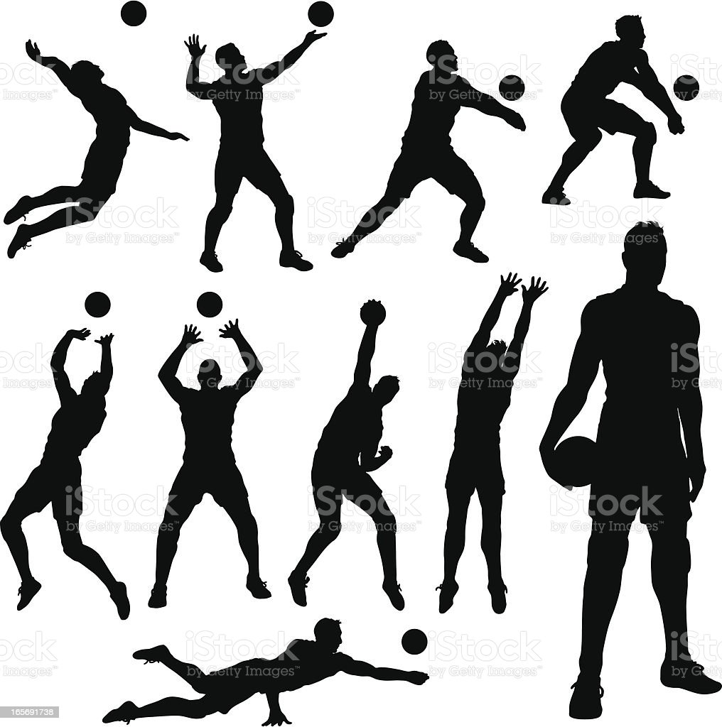 Volleyball men Silhouettes vector art illustration