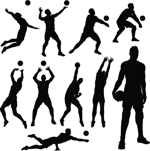 stockillustraties, clipart, cartoons en iconen met volleyball men silhouettes - gepunt