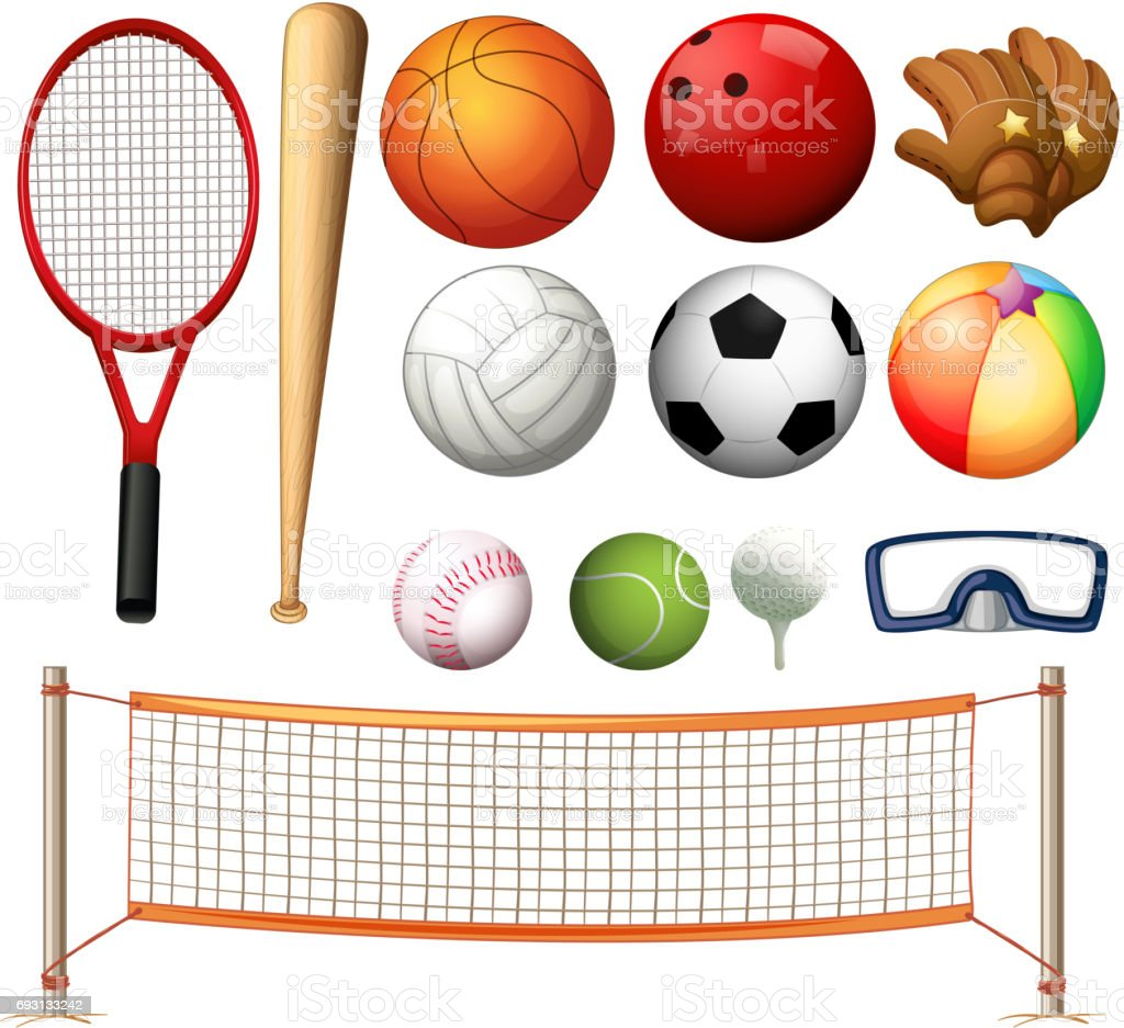 Volleyball net and different types of balls vector art illustration