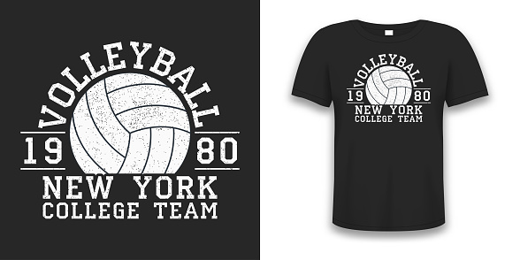Volleyball New York grunge print for apparel with ball. Typography graphics for t-shirt. Design for athletic clothes on tee shirt mockup. Vector