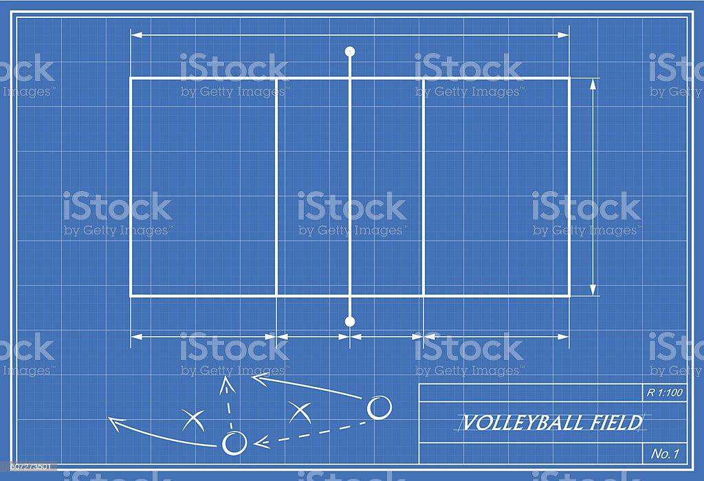 volleyball on blueprint vector art illustration