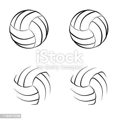 Set of four different outline sport balls isolated on white background