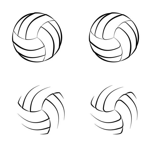 ilustrações, clipart, desenhos animados e ícones de símbolos do esboço do voleibol - voleibol