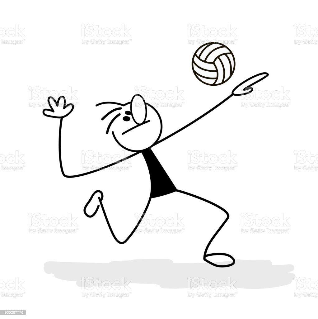 Jogador de vôlei chuta a bola. Esporte. Voleibol. ilustração de jogador de  vôlei 1d456c4568822