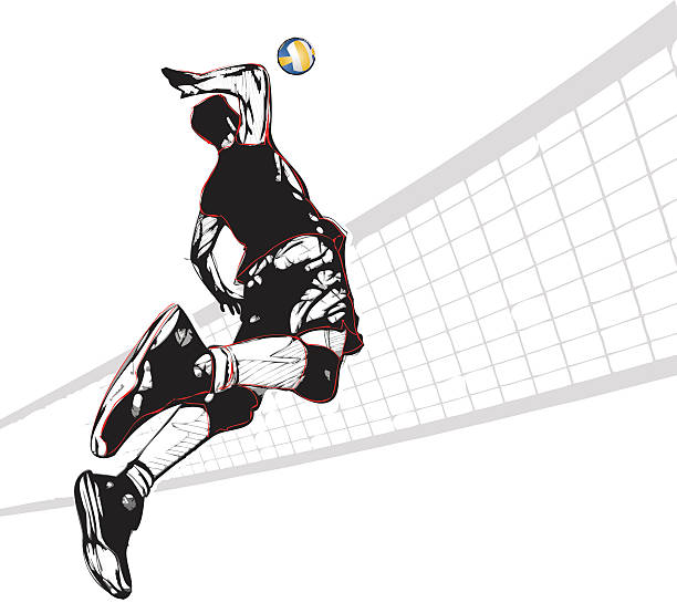 volleyball player vector art illustration