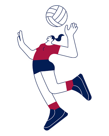 Volleyball player woman serving ball