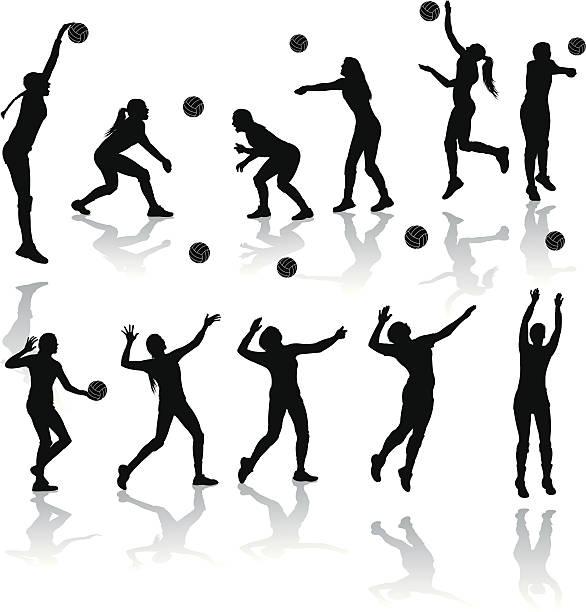 Voleibol jugadores-Chicas - ilustración de arte vectorial