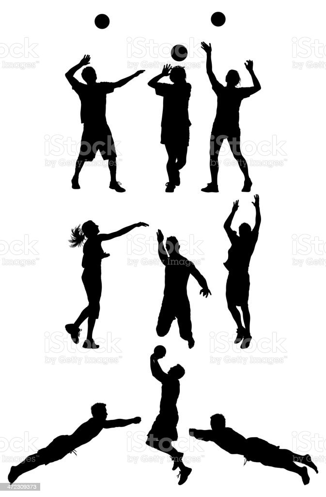 Volleyball players in action royalty-free stock vector art