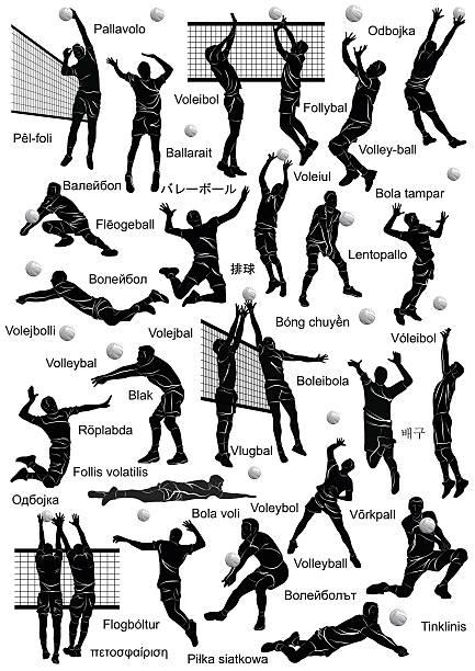 Jugadores Silueta de voleibol - ilustración de arte vectorial