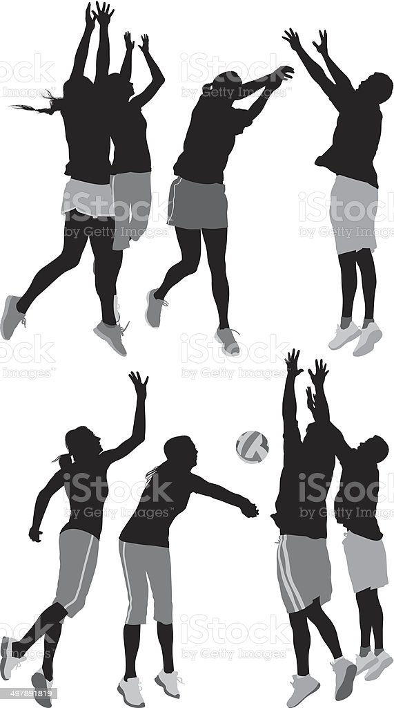 Volleyball players royalty-free volleyball players stock vector art & more images of activity