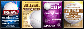 Volleyball Poster Set Vector. Design For Cafe, Pub, Sport Bar Promotion. Volleyball Ball. Vertical Modern Tournament. Sport Event Announcement. Beach, Net. Banner Advertising. Template Illustration