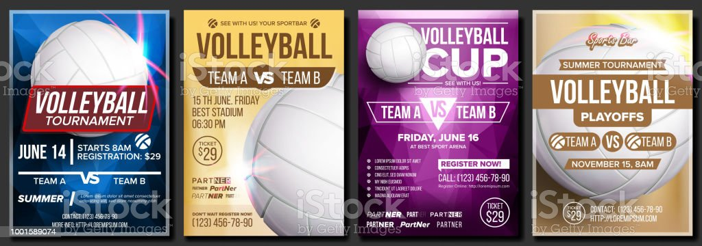 Volleyball Poster Set Vector. Design For Cafe, Pub, Sport Bar Promotion. Volleyball Ball. Vertical Modern Tournament. Sport Event Announcement. Beach, Net. Banner Advertising. Template Illustration vector art illustration