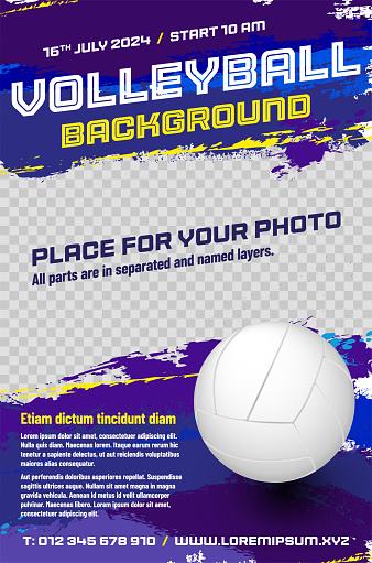 Volleyball poster template with ball and place for your photo