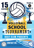 Volleyball sport championship cup and school league or college team match tournament. Vector volleyball game poster with victory cups and flying ball in net
