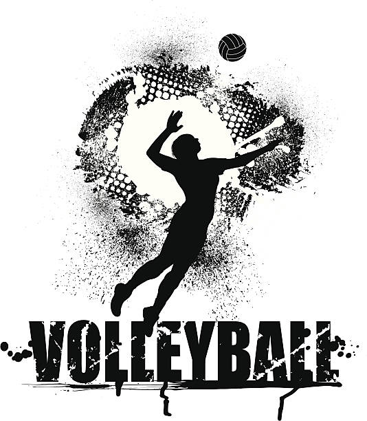 Volleyball Serve Grunge Graphic - Female vector art illustration
