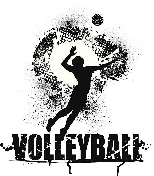 Voleibol servir Grunge gráfico-hembra - ilustración de arte vectorial