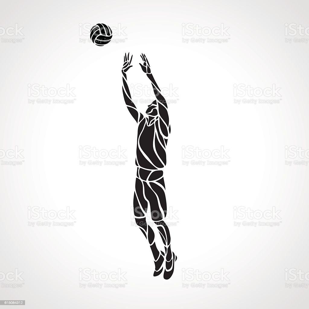 Volleyball setter silhouette, vector illustration vector art illustration