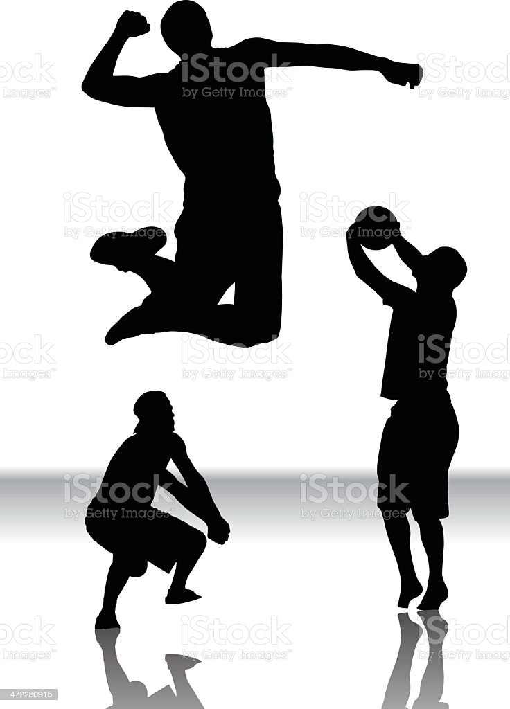 volleyball silhouettes vector art illustration