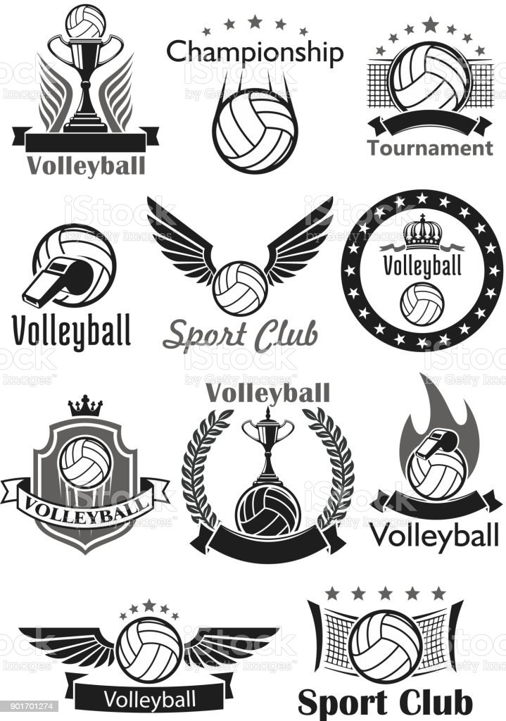 Volleyball sport club awards vector icons set vector art illustration