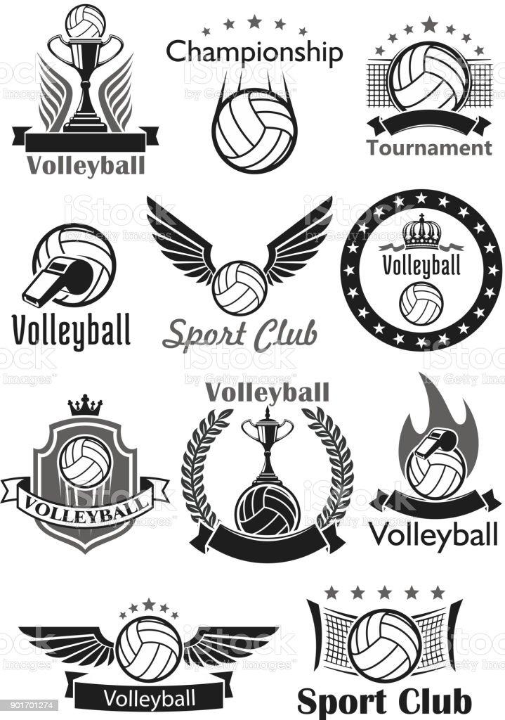 Volleyball Sport Club Awards Vektor-Icons set – Vektorgrafik