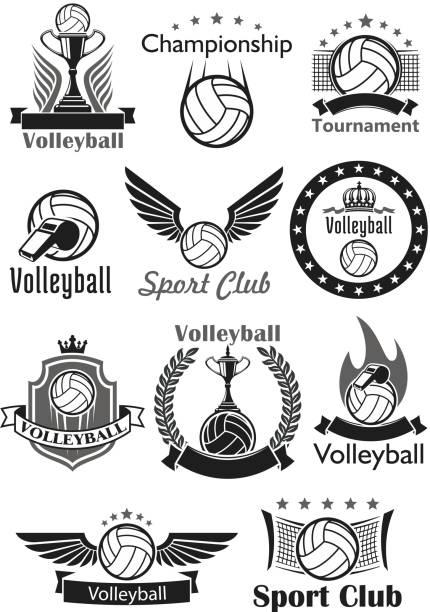 ilustrações, clipart, desenhos animados e ícones de voleibol esporte clube prémios vector conjunto de ícones - voleibol
