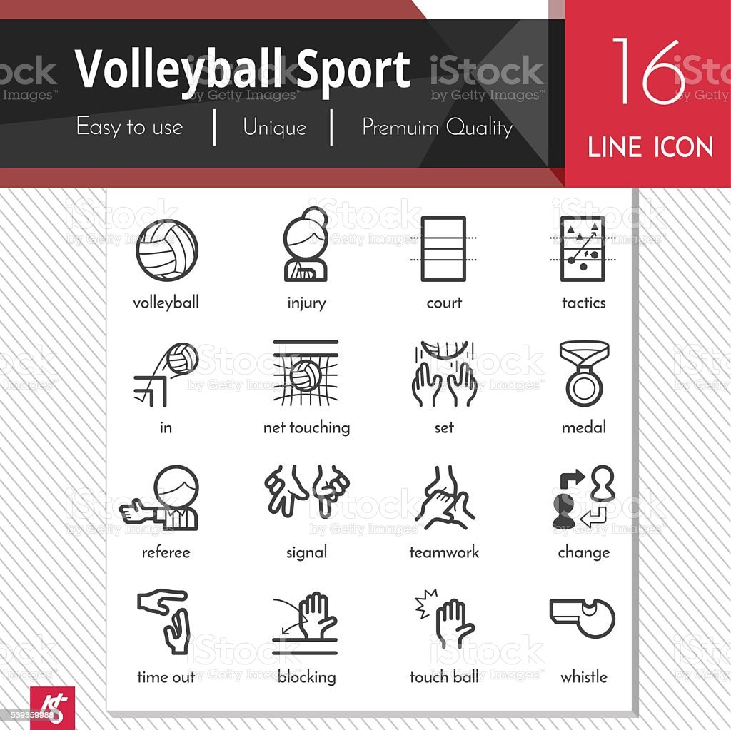 Volleyball Sport elements vector black icons set on white background. vector art illustration
