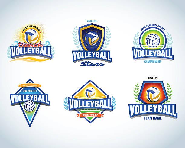 Voleibol deporte logo plantillas, tarjetas, crests, camisetas, etiquetas, iconos, emblems. - ilustración de arte vectorial