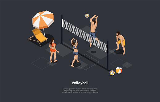 Volleyball, Team Sport Concept. Volleyball Women Vs Men Team. Men Grounding A Ball Over A Net On The Women Team s Court. Each Team Trying To Score Points. Colorful 3d Isometric Vector Illustration